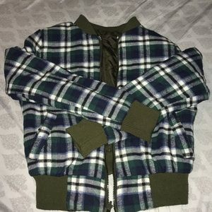 Reversible olive green plaid jacket